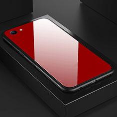 Silikon Schutzhülle Rahmen Tasche Hülle Spiegel für Oppo A3 Rot