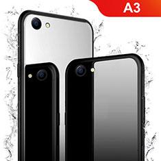 Silikon Schutzhülle Rahmen Tasche Hülle Spiegel für Oppo A3 Schwarz