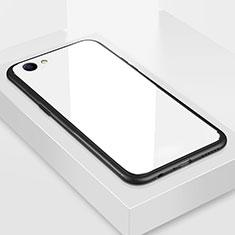 Silikon Schutzhülle Rahmen Tasche Hülle Spiegel für Oppo A3 Weiß