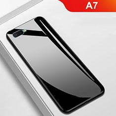 Silikon Schutzhülle Rahmen Tasche Hülle Spiegel für Oppo A7 Schwarz