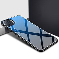 Silikon Schutzhülle Rahmen Tasche Hülle Spiegel für Oppo F17 Pro Blau
