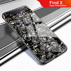 Silikon Schutzhülle Rahmen Tasche Hülle Spiegel für Oppo Find X Super Flash Edition Schwarz