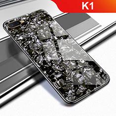 Silikon Schutzhülle Rahmen Tasche Hülle Spiegel für Oppo K1 Schwarz