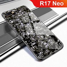 Silikon Schutzhülle Rahmen Tasche Hülle Spiegel für Oppo R17 Neo Schwarz