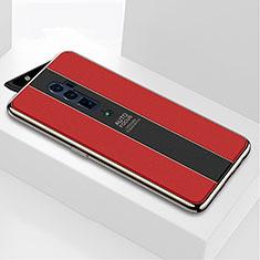 Silikon Schutzhülle Rahmen Tasche Hülle Spiegel für Oppo Reno 10X Zoom Rot
