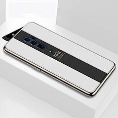 Silikon Schutzhülle Rahmen Tasche Hülle Spiegel für Oppo Reno 10X Zoom Weiß