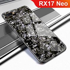Silikon Schutzhülle Rahmen Tasche Hülle Spiegel für Oppo RX17 Neo Schwarz
