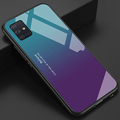 Silikon Schutzhülle Rahmen Tasche Hülle Spiegel für Samsung Galaxy A51 4G Blau