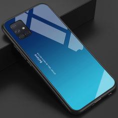 Silikon Schutzhülle Rahmen Tasche Hülle Spiegel für Samsung Galaxy A51 4G Hellblau