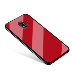 Silikon Schutzhülle Rahmen Tasche Hülle Spiegel für Samsung Galaxy J2 Pro (2018) J250F Rot