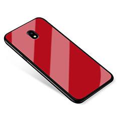 Silikon Schutzhülle Rahmen Tasche Hülle Spiegel für Samsung Galaxy J5 (2017) SM-J750F Rot