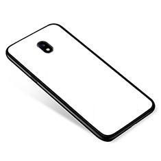 Silikon Schutzhülle Rahmen Tasche Hülle Spiegel für Samsung Galaxy J5 (2017) SM-J750F Weiß