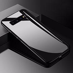Silikon Schutzhülle Rahmen Tasche Hülle Spiegel für Samsung Galaxy S10 5G Schwarz