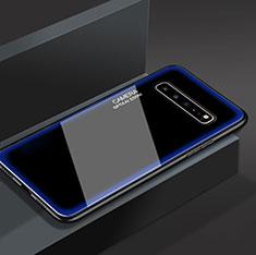 Silikon Schutzhülle Rahmen Tasche Hülle Spiegel für Samsung Galaxy S10 5G SM-G977B Blau