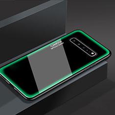 Silikon Schutzhülle Rahmen Tasche Hülle Spiegel für Samsung Galaxy S10 5G SM-G977B Grün