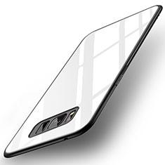 Silikon Schutzhülle Rahmen Tasche Hülle Spiegel für Samsung Galaxy S8 Weiß