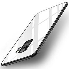 Silikon Schutzhülle Rahmen Tasche Hülle Spiegel für Samsung Galaxy S9 Weiß