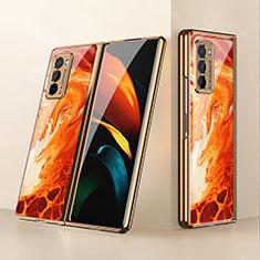 Silikon Schutzhülle Rahmen Tasche Hülle Spiegel für Samsung Galaxy Z Fold2 5G Orange