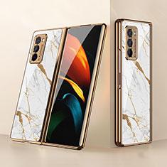 Silikon Schutzhülle Rahmen Tasche Hülle Spiegel für Samsung Galaxy Z Fold2 5G Weiß