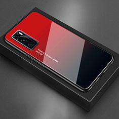 Silikon Schutzhülle Rahmen Tasche Hülle Spiegel für Vivo V20 SE Rot