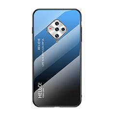 Silikon Schutzhülle Rahmen Tasche Hülle Spiegel für Vivo X50e 5G Blau