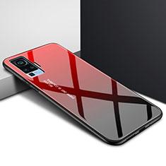 Silikon Schutzhülle Rahmen Tasche Hülle Spiegel für Vivo X51 5G Rot