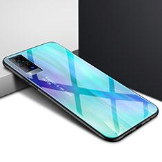 Silikon Schutzhülle Rahmen Tasche Hülle Spiegel für Vivo X60 Pro 5G Cyan