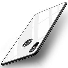 Silikon Schutzhülle Rahmen Tasche Hülle Spiegel für Xiaomi Mi A2 Weiß