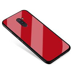 Silikon Schutzhülle Rahmen Tasche Hülle Spiegel für Xiaomi Pocophone F1 Rot