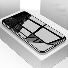 Silikon Schutzhülle Rahmen Tasche Hülle Spiegel M01 für Apple iPhone 11 Pro Schwarz