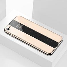 Silikon Schutzhülle Rahmen Tasche Hülle Spiegel M01 für Apple iPhone 7 Gold