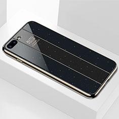 Silikon Schutzhülle Rahmen Tasche Hülle Spiegel M01 für Apple iPhone 8 Plus Schwarz
