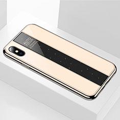 Silikon Schutzhülle Rahmen Tasche Hülle Spiegel M01 für Apple iPhone Xs Gold