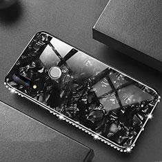 Silikon Schutzhülle Rahmen Tasche Hülle Spiegel M01 für Huawei P20 Lite Schwarz