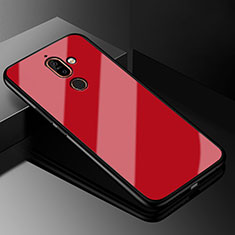 Silikon Schutzhülle Rahmen Tasche Hülle Spiegel M01 für Nokia 7 Plus Rot