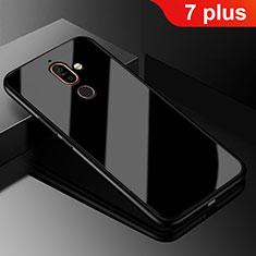 Silikon Schutzhülle Rahmen Tasche Hülle Spiegel M01 für Nokia 7 Plus Schwarz