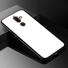 Silikon Schutzhülle Rahmen Tasche Hülle Spiegel M01 für Nokia 7 Plus Weiß