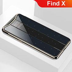 Silikon Schutzhülle Rahmen Tasche Hülle Spiegel M01 für Oppo Find X Schwarz
