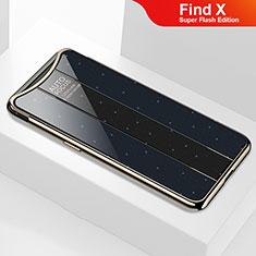 Silikon Schutzhülle Rahmen Tasche Hülle Spiegel M01 für Oppo Find X Super Flash Edition Schwarz