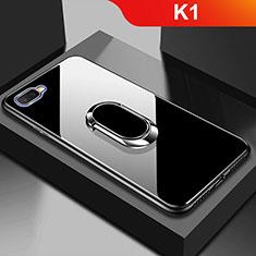 Silikon Schutzhülle Rahmen Tasche Hülle Spiegel M01 für Oppo K1 Schwarz