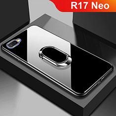 Silikon Schutzhülle Rahmen Tasche Hülle Spiegel M01 für Oppo R17 Neo Schwarz