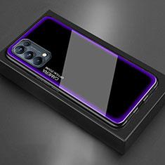 Silikon Schutzhülle Rahmen Tasche Hülle Spiegel M01 für Oppo Reno5 5G Violett