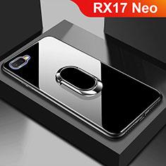 Silikon Schutzhülle Rahmen Tasche Hülle Spiegel M01 für Oppo RX17 Neo Schwarz