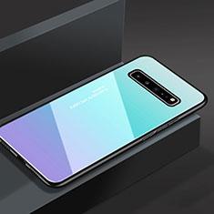 Silikon Schutzhülle Rahmen Tasche Hülle Spiegel M01 für Samsung Galaxy S10 5G SM-G977B Hellblau