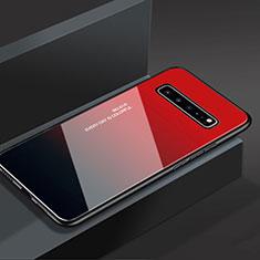 Silikon Schutzhülle Rahmen Tasche Hülle Spiegel M01 für Samsung Galaxy S10 5G SM-G977B Rot