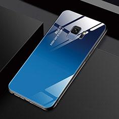 Silikon Schutzhülle Rahmen Tasche Hülle Spiegel M01 für Samsung Galaxy S9 Blau
