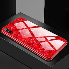 Silikon Schutzhülle Rahmen Tasche Hülle Spiegel M02 für Huawei P20 Rot