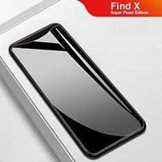 Silikon Schutzhülle Rahmen Tasche Hülle Spiegel M02 für Oppo Find X Super Flash Edition Schwarz