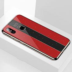 Silikon Schutzhülle Rahmen Tasche Hülle Spiegel M02 für Xiaomi Mi A2 Rot