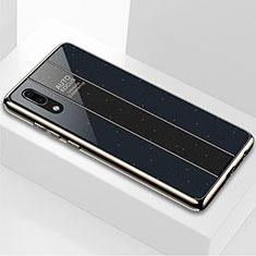 Silikon Schutzhülle Rahmen Tasche Hülle Spiegel M03 für Huawei P20 Schwarz
